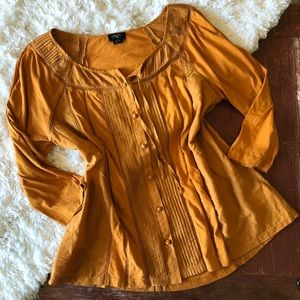 Anthropologie | Deletta Pintuck Mustard Blouse